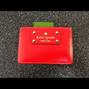 NWT-KATE SPADE RED GRAHAM CARD HOLDER
